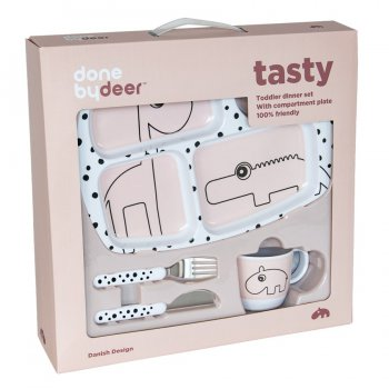 Done by Deer - Geschirrset für Kleinkinder - Toddler dinner set - Happy dots rosa
