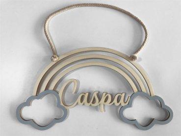 cumico - Namensschild Regenbogen mit Wolken personalisierbar mit Namen und Farbe NEUHEIT