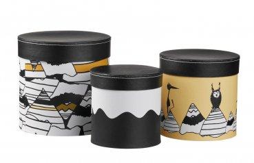 Kids Concept 3er Set Pappboxen rund - Schwarz / Weiß / Gelb aus der Mammut-Linie NEO