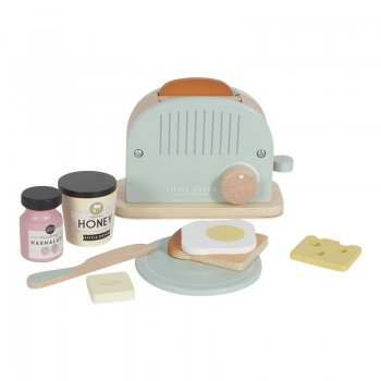 Little Dutch Holz Toaster Set 10-teilig - mint LD4461
